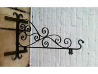 Wrought iron shop hanging sign bracket
