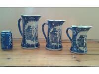 set of 3 Chinese willow pattern jugs