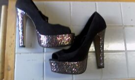 brand new size 7 asos hi heeled glitter sole shoes
