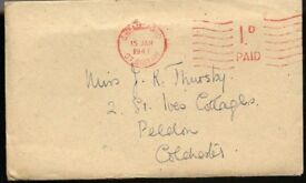 Envelope Postmark Chelmsford 15 January 1947 with Ministry of Agriculture and Fisheries Letter