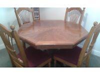 oak veneered dining table & 6 chairs