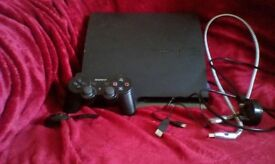 PS3 with controller and bluetooth headset