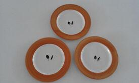 "Poole Pottery ""Fresco"" Hand-painted Side Plates x 3"