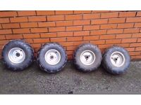 for sale full set of quad wheels and tyres... will fit chinese type quads.