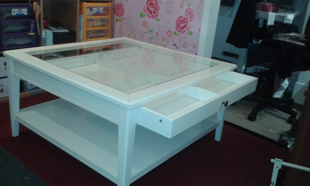White Glass Top Coffee Table With Display Drawer In Benfleet Essex Gumtree