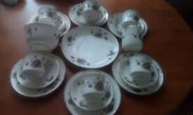 21 piece heathcote floral tea set
