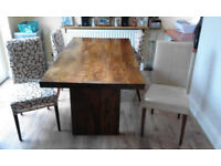 6 Seater solid hardwood dining table and 4 chairs