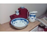 Wash stand set Bowl, pitcher, soap dish and toothbrush holder