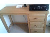 Solid oak desk / dressing table with 3 drawers