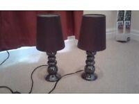 Purple bedside lamps