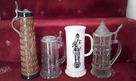Collection of Pottery/Glass Beer Tankards.