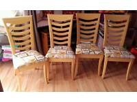 Extendable Table and Four Reupholstered Chairs
