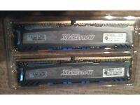 2x4GB DDR4 2400MHz Crucial Ballistix RAM Matched pair = 8GB PC Memory
