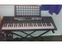yamaha ez-200 keyboard & adaptor + instruction manual + stand
