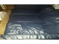 3 Seater Leather Sofa Navy Colour Good Condition