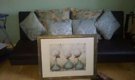 Duck Egg Jacquard curtains. new ( 90 inch x 90 inch ) 6 matching cushions and one framed picture.