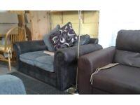 Grey & Black 2 Seater Sofa