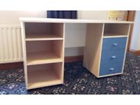 Office desk, with three blue drawers - suitable for child's room/study - COLLECTION ONLY