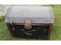 Vintage leatherbound wicker chest