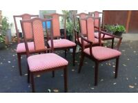 Retro 6 solid mahogany dining chairs consist of 2 open arm elbow armchairs. Nathan Furniture