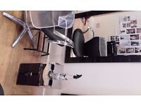 Large / small mirror. gas lift black and chrome styling chair, small styling unit
