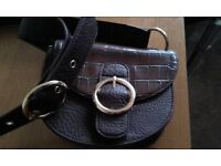 DARK BROWN LADIES SMALL OVERBODY BAG IN PERFECT CONDITION