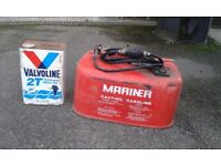 Mariner Gasolene container and Valvoline outboard motor oil