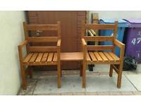 2 handmade wooden chairs with removable table