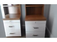 X2 bed side wooden cabinets