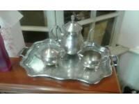 Silver plate tea service set.
