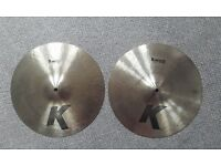 "Beautiful 14"" Zildjian K (hand hammered) hi hats"