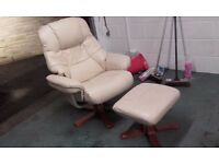 Cream leather armchair and matching footstool!...very good condition