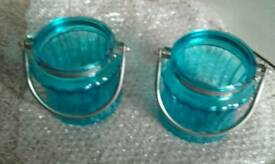 Pair of turqouise glass lanterns