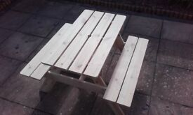 Natural pine picnic bench for kids