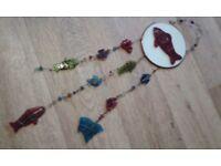 Handmade colourful glass windchimes
