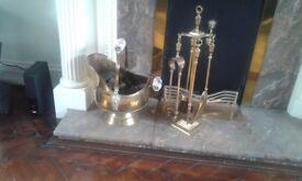 Brass coal scuttle and companion set