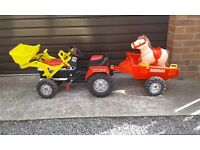 Ride on tractor with front loader and trailer and horse