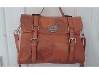 New leather orange handbag, fancy art work, quality metal fixings, nice design