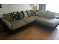 Black, beige & green fabric Corner sofa and 2 seater sofa