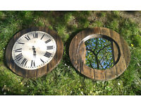Reclaimed Cable Spool Clock & Mirror *available as a pair or individually*