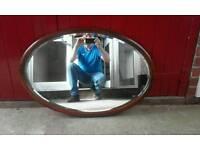 Teak oval mirror