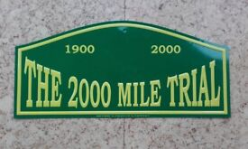 Genuine Metal Rally Plate from The 2000 Mile Trial Classic Rally