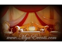 Venue Lighting £25 Wedding Gold Sofa Hire £199 Mendhi Stage Hire Decor £299 Full Wedding Packages£14