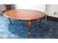 FOLD DOWN WOODEN OVAL COFFEE TABLE
