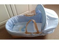 Baby, Moses Basket, Wicker Basket Frame with blue cover and Hood, Little Rocker