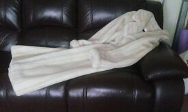 Luxurious Winter white full length fake fur coat size 14