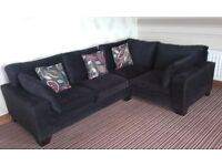 Lovely black cornersofa chenelli cushions bought out of next excellent condition like new £240