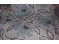 pair lined duck egg patterned curtains