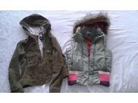 Girls Gap jacket and Roxy body warmer, both aged 8-9 years