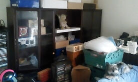 Mahogany Wall /Display /Storage Unit with glass doors and lights, shelves and drawer